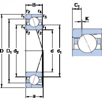95 mm x 145 mm x 24 mm  SKF 7019 ACD/P4AH1 angular contact ball bearings